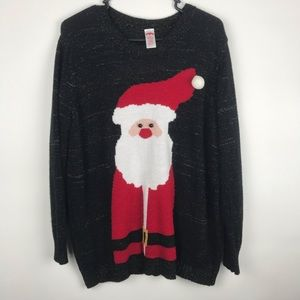 Holiday Time 2X 18W-20W Christmas Santa Sweater